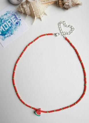 Чокер из бисера и бусин, красный, кавун, арбуз, червоний, колье, тренд 2021, ожерелье