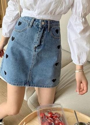 Джинсовая юбка с сердечками, р.s,m,l, джинс коттон, голубой
