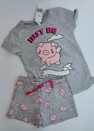 Трикотажная летняя пижама шорты,  футболка idexe италия,  104, на 3 - 4 года