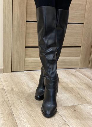 Кожаные сапоги-ботфорты bascon