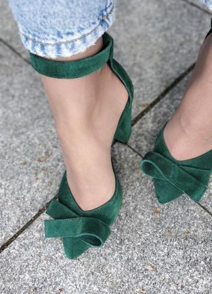 Изумрудные туфли  з натуральной замши, босоножки