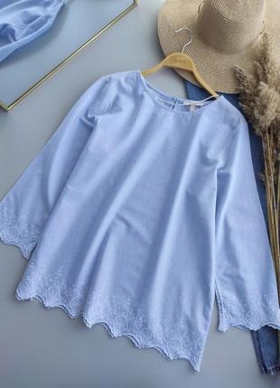 Натуральная, очень красивая рубашка с элементами вышивки