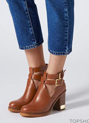 Натуральная кожа ботинки челси с золотой пластиной от бренда topshop 37 размер