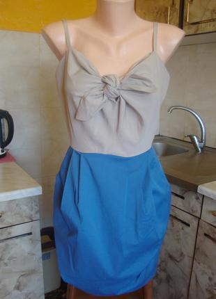 Платье бежево-голубое h&m размер 38 s/m 48%котон, 48%полиэстер,4%эластан