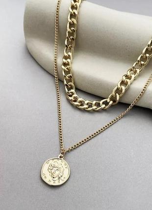 Цепочка цепь колье ожерелье две цепочки с кулоном монеткой золотистая новая