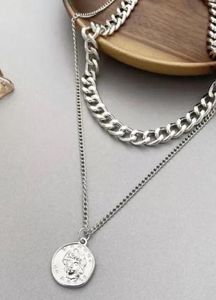 Цепочка цепь колье ожерелье две цепочки с кулоном монеткой серебристая новая