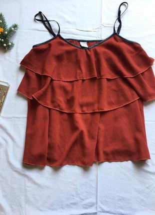 Блуза свободного кроя майка воланами тренд сток бренд цегловый цвет