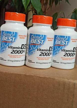 Витамин d3, 2000 ме, 180 капсул, doctor's best вітамін д3
