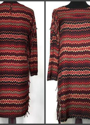 Необычное  платье,туника в принт с бахромой (см.замеры)