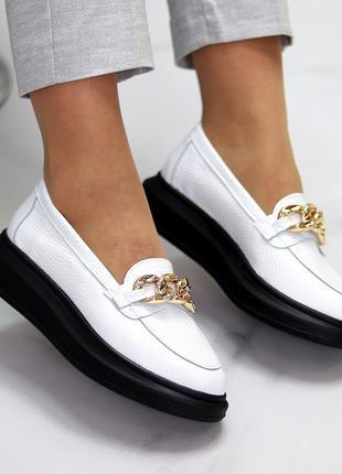 Актуальные белые женские туфли криперы натуральная кожа флотар с декором