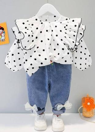 Костюм дитячий для дівчинки блузка джинси