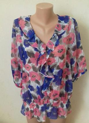 Шифоновая блуза с принтом цветы,при покупке 3 вещей в подарок!!!