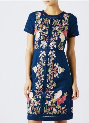 Monsoon  цветочная вышивка. дорогая коллекция лён 100%. s-m. красивейшее платье