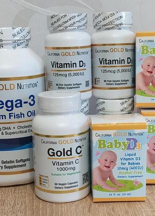 Витамин с, д3, омега-3 california gold nutrition