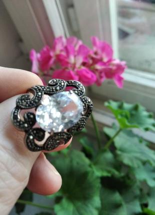 Винтажный серебряный перстень, кольцо, с огромным белым цирконом