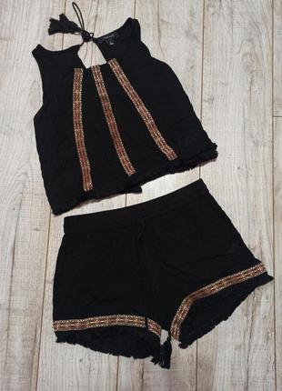 Летний лёгкий костюм с шортами в этно стиле