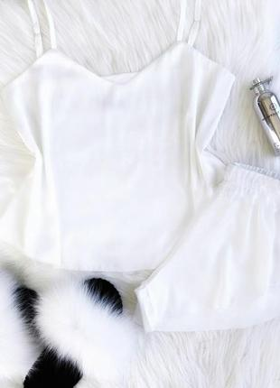 Пижама из шелка утро невесты, майка и шорты с разрезами
