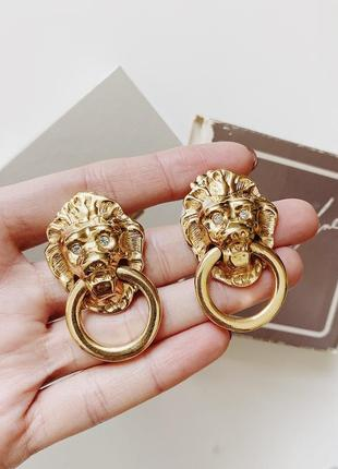 Винтажные серьги львы дверные молотки avon society collection