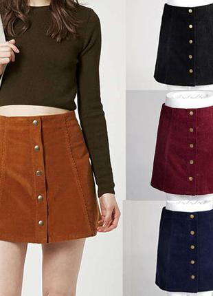 Заходи на обнову!крутая велюровая юбка с пуговицами /трапеция george george