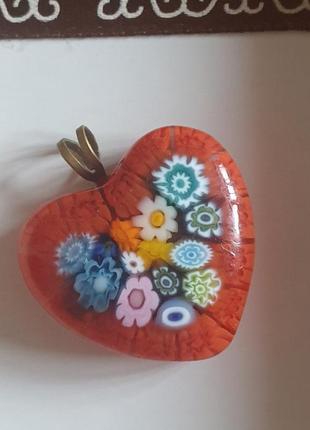 Аутентичный кулон в форме сердца муранское стекло