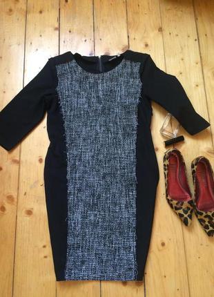 Теплое черное платье с твидом по фигуре