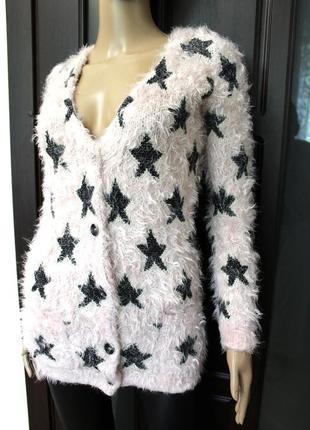 Стильный пудровый кардиган, пуловер джемпер с звездами atmosphere