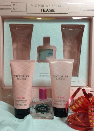 Лосьон, парфюм духи и гель для душа tease  от victoria's secret в наборе