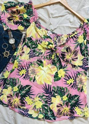 💖летняя блузка с открытыми плечами цветочный принт новая