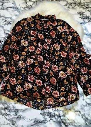 Красивая вискозная рубашка в цветы с удлиненной спинкой размер 3xl-4xl