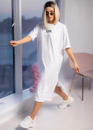 Красива зручна спортивна подовжена сукня,плаття з розрізами і написом _icon_