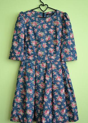 Платье из мягкого коттона с цветочным принтом (xs, m)