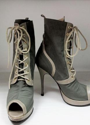 Ботинки открытый носок цвет хакки каблук бренд luciano carvari