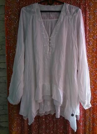Туника белая с рюшами и набивным кружевом большой размер 48-50