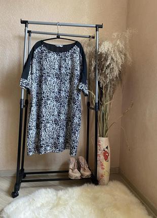 Лёгкое свободное платье оверсайз прямого кроя с принтом  20р.tu
