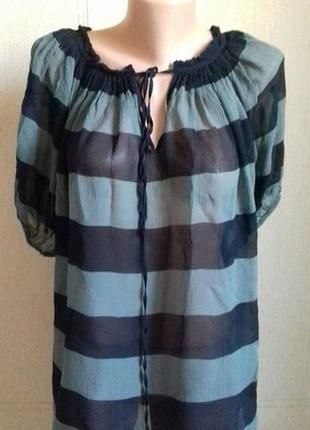 Натуральная шелковая блуза в полоску