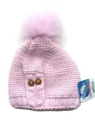 Размер 6-12 лет зимняя шапка с помпоном grans