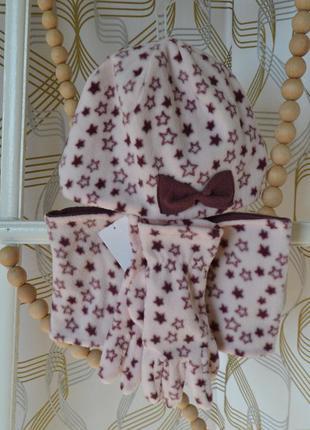 Акция комлект (шапка,снуд, перчатки) kiabi на девочку 8-12 лет/128-152 см