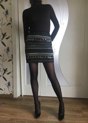 Мини юбка h&m с бисером и пайетками