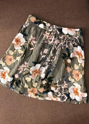 Юбка хлопок летняя стильная в цветочек zara asos