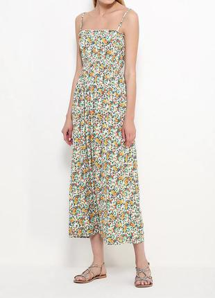 Платье сарафан в пол длинный длинное цветочек цветы принт белый морской пляжный