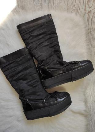 Черные теплые зимние натуральные кожаные сапоги сапожки на высокой платформе vitto rossi