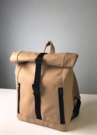 Стильный бежевый большой женский, удобный рюкзак