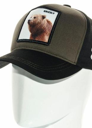 Черная бейсболка кепка grizzly гризли  ведмідь мужская женская
