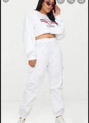 Белые брюки штаны джогеры джоггеры   prettylittlething
