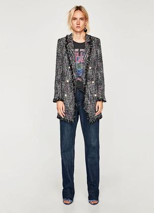 Длинный твидовый пиджак блейзер жакет с жемчужными пуговицами от zara