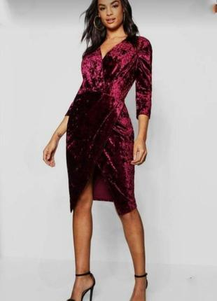 Миди платье нарядное бархатное марсала бордо сукня святкова
