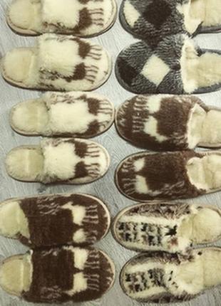 Тапочки из овчины на войлочной подошве, 36-46
