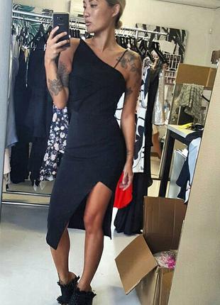 Платье ассиметричный крой asos черное коктейльное  миди