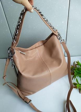 Очень красивая сумка-мешок, кожаная