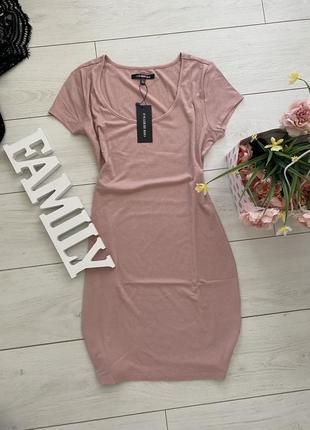 Фирменное базовое платье в пудровом цвете